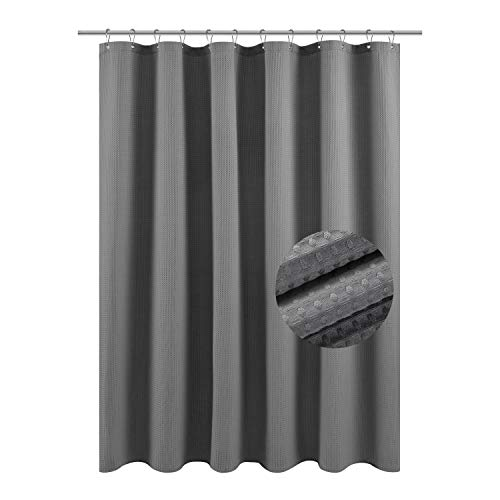 Waffle Weave Fabric Shower Curtain, Spa, Hotel Luxury, 230 GSM Heavy Duty, Water Repellent, Gray Pique Pattern, 71 x 72 Inches Decorative Bathroom Curtain