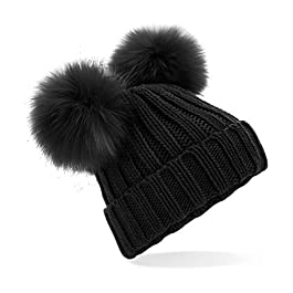 ASVP Shop Ladies Pom Pom Knitted Beanie Hat Plain Womens Beanie Faux Fur Bobble Pom