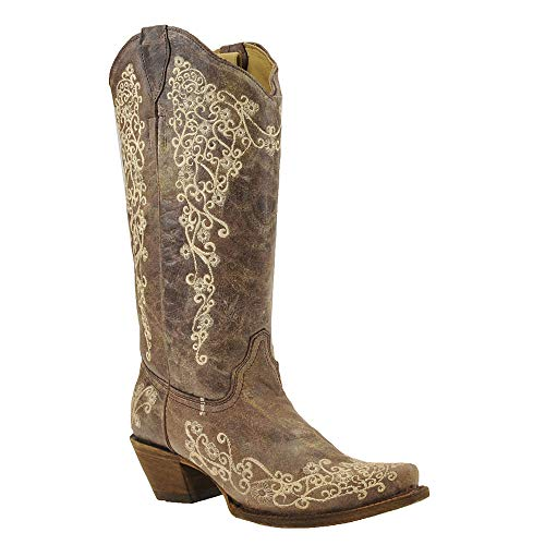Corral Boots Women Snip Lisa Crater Bone Embroidery Brown 8.5 M Western Heel (Womans Corral Cowboy Boots)