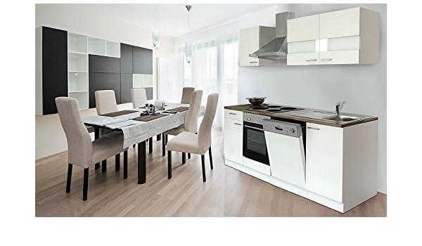 respekta KB220ESW- Bloque de Cocina (220 cm Color Blanco Frontal Blanco lavavajillas del Horno Campana extractora kb220ww: Amazon.es: Hogar