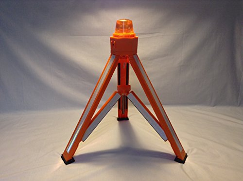 TriFlector 5000R (Strobe) Model w/White Reflective Material and Amber High Efficiency LED Light Source - Advanced Safety Triangle, Adjustable to Traffic Cone and Barricade Configurations for Roadside Traffic Safety