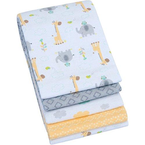 Garanimals Baby Neutral Fleece Swaddle Receiving Flannel Blankets (4 Piece in a (Hearts Flannel Receiving Baby Blanket)