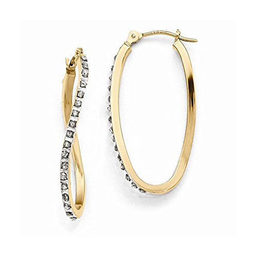 ICE CARATS 14kt Yellow Gold Diamond Fascination Twist Hinged Hoop Earrings Ear Hoops Set Fine Jewelry Ideal Gifts For Women Gift Set From Heart