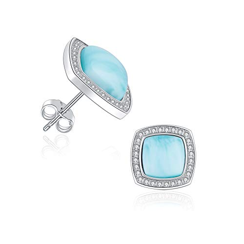 925 Sterling Silver Larimar Stud Earrings Square Shape Natural Genuine Handmade Gemstone Fashion Blue Larimar Earrings for Women and Girl