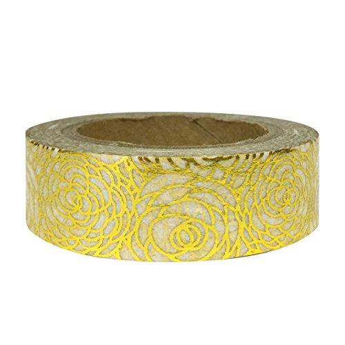 AllyDrew Washi Tapes Decorative Masking Tapes, Peonies Shiny Gold