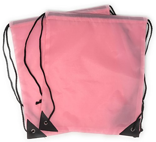 20 x Bulk Drawstring Backpack - Sports Bag Cinch Sack (Pink)