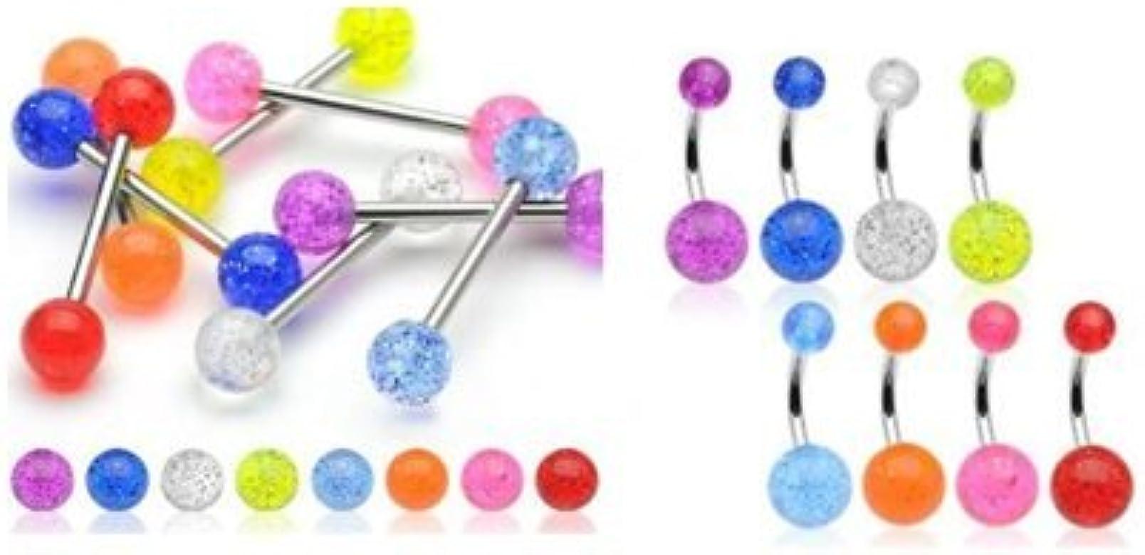 Piercing Pack fluorescentes brillantes y nombril lengua: Amazon.es: Joyería