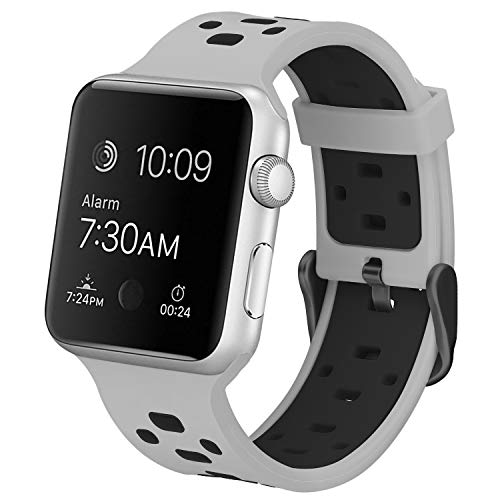 (SKYLET Bands Compatible with Apple Watch 38mm 42mm 44mm 40mm, Soft Silicone Breathable Replacement Wristband Compatible with Apple Watch Series 4 3 2 1 (Smart Watch Not Included))