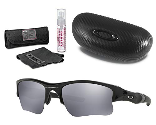 Oakley Flak Jacket XLJ Sunglasses (Jet Black Frame, Black Iridium Lens) with Lens Cleaning Kit and Ellipse O Carbonfiber Hard Case