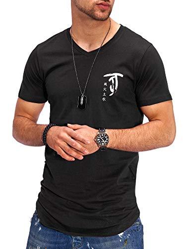 JACK & JONES Herren T-Shirt V-Neck Print Shirt Kurzarmshirt Short Sleeve Casual Streetwear