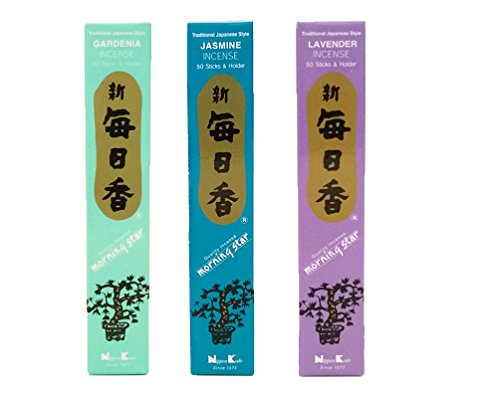 Morning Star Incense bundle of 3 x 50 sticks boxes (Jasmine, Gardenia, Lavender) - Premium incense sticks from Japan