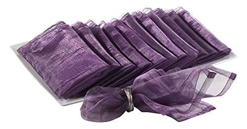 (Sheer Decorative Organza Dinner Napkins, 20-inch Square, Set of 12 (Purple))