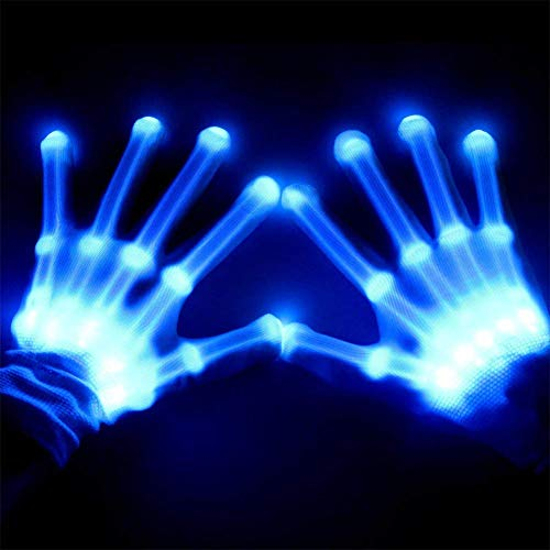 - RONSHIN Fashion Creative Unique LED Color Changing Flashing Skeleton Gloves Novelty Glowing Gloves for Halloween Costume Party Concert