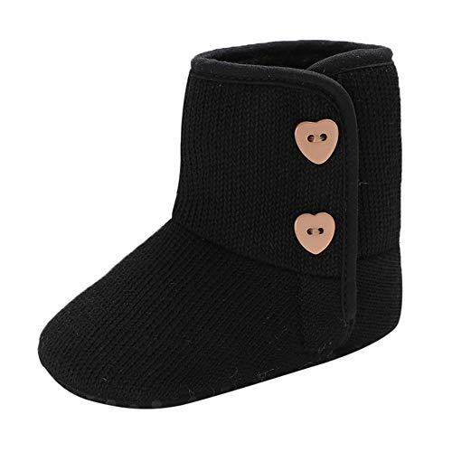 Newborn Autumn Winter Boots,Jchen(TM) Infant Newborn Baby Girls Cashmere Winter Button Boots Prewalker Warm Snow Boots Shoes for 0-18 Months (Age: 6-12 Months, Black)]()