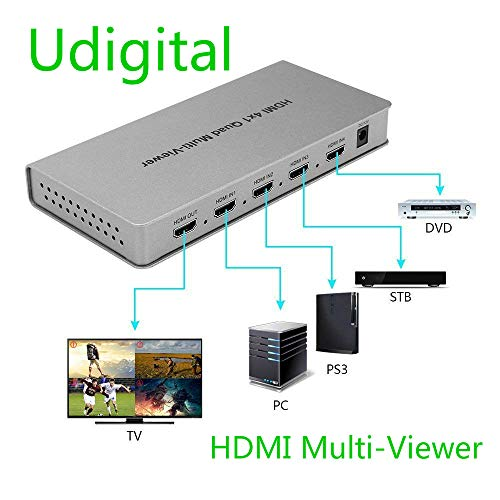 Udigital 4X1 HDMI Multi-viewer HDMI Quad Screen Real Time Multiviewer with HDMI Seamless Switcher Function Full 1080P&3D Support 5 Modes for PS3/PC/STB/DVD (4X1 HDMI Multi-viewer)