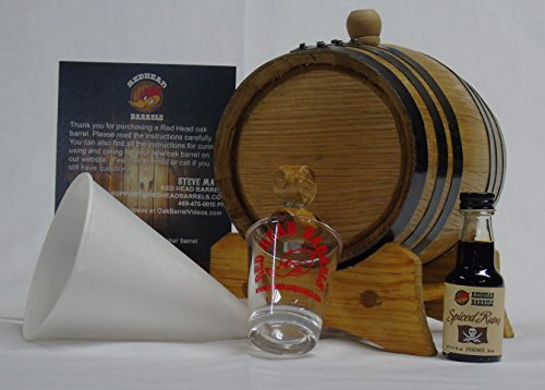 Spiced Rum Essence - 1 Liter Charred Oak Barrel Flavor Kit w/Essence for making your own flavored alcohol (Spiced Rum)