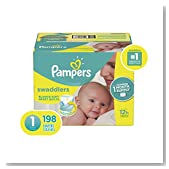 Pampers Swaddlers Disposable Baby Diapers Size 1, 198 Count, ONE MONTH SUPPLY