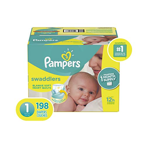 Diapers Pampers Swaddlers Size 1 (8-14 lb), 198 Count - Disposable Baby Diapers Size 1 / Newborn, 198 Count, ONE MONTH SUPPLY from Pampers