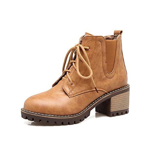 BalaMasa Womens Casual Slip-Resistant Comfort Urethane Boots ABL10336 Yellow