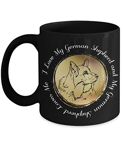 I Love My German Shepherd Mug - 11oz Alsatian Cup - Black German Shepherd Coffee Mug