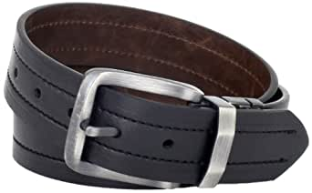 Levi's Men's Levis 40MM Reversible Belt With Brushed Silver Buckle, Black/Brown, Small