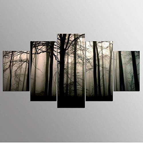 Slzlhc 居間のためのフレームアートの家の装飾5のパネルの木の景色の壁の写真-30X40Cmx2/30X60Cmx2/30X80Cmx1