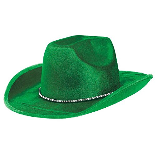 Party Ready Team Spirit Velour Cowboy Hat Accessory, Green, Fabric , 5