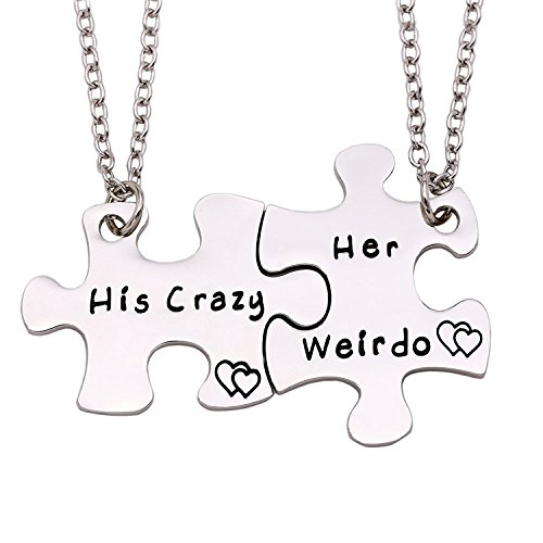 ENSIANTH Couple Necklace His Crazy Her Weirdo Necklace Puzzle Piece Necklace Set Gift for Lover (her Weirdo his Crazy Necklace) ()