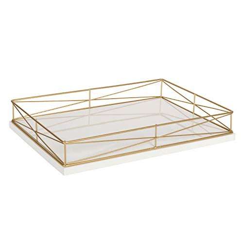 Kate and Laurel Mendel Rectangle Tray with Decorative Metal Rim, 16.5 x 12, White and Gold by Kate and Laurel
