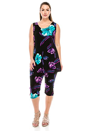 Jostar Women's Stretchy Tank Capri Pant Set Print Medium Purple Dots