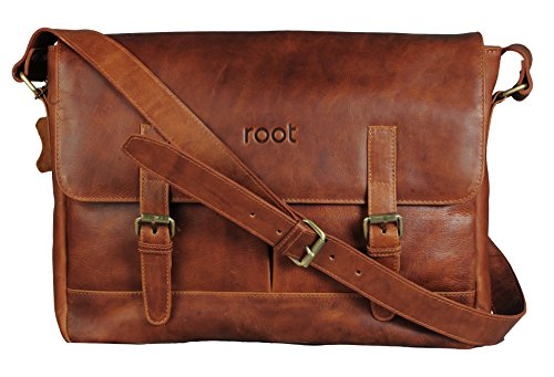 Root 15 inch Vintage Style Genuine Leather Laptop Messenger Bag