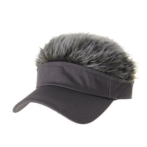 Fake Wigs (WITHMOONS Flair Hair Sun Visor Cap with Fake Hair Wig Novelty KR1588 (Grey))