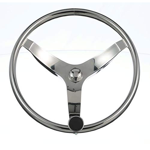 Seachoice 28481 3 Spoke Sports Steering Wheel with Turning Knob, Fits ¾-Inch Tapered Shaft
