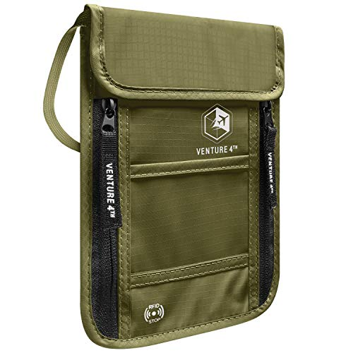 VENTURE 4TH Passport Holder Neck Wallet with RFID Blocking - Hidden Neck Pouch (Army Green)
