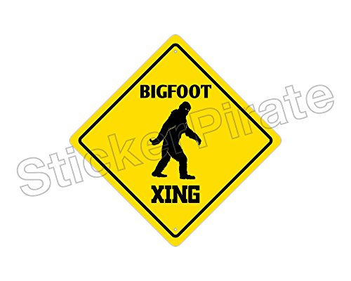 StickerPirate Bigfoot Crossing Funny Metal Novelty Sign Aluminum