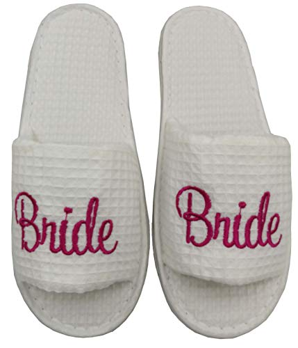 UUMI Waffle Slippers with Embroidery Letters for Wedding Party and Spa (Bride) White