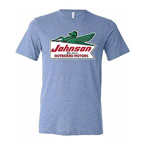 Johnson T-shirt Motors - Evinrude Johnson OMC BRP Vintage Powder Blue Johnson Outboard Motors Short Sleeve T-Shirt 2X