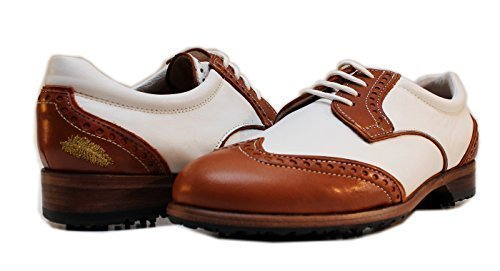 Premium Ladies Golf Shoe | Softspikes Leather sole | Waterproof | Summer 2017 Collection | PRO 8 WEISS (38.5 EU 7.5 B(M) US, NAPPA DERBY WEISS BRAUN)
