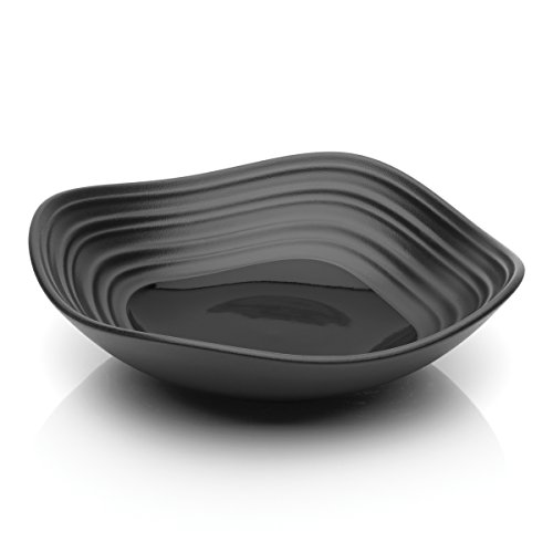 Mikasa Swirl Black Square Fruit Bowl, 13-Ounce