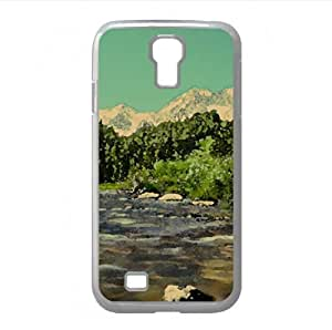 Beautiful Mountain River Watercolor style Cover Samsung Galaxy S4 I9500 Case (Mountains Watercolor style Cover Samsung Galaxy S4 I9500 Case)