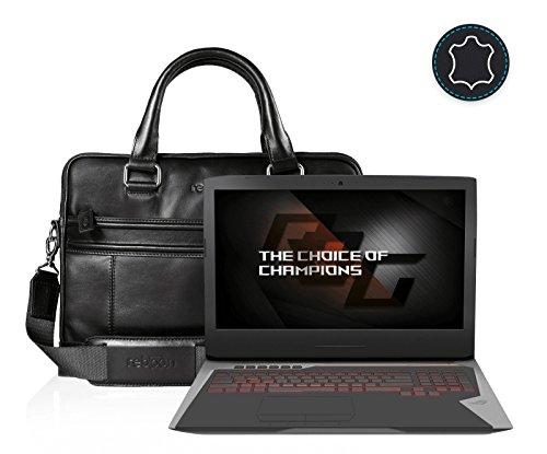 reboon Echt-Leder Laptop-Tasche in Braun Leder für ASUS G752VS KBL BA338T 17 3 | 17 Zoll | Notebooktasche Umhängetasche | Damen/Herren - Unisex | Premium Qualität Schwarz Leder