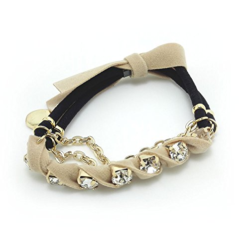 Floral Hair Elastic (Meilliwish Diamond Fabric Bow Bracelet Hair Elastic and Tie Ponytail)