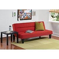 Convertible Futon Sofa Sleeper Bed (Red)