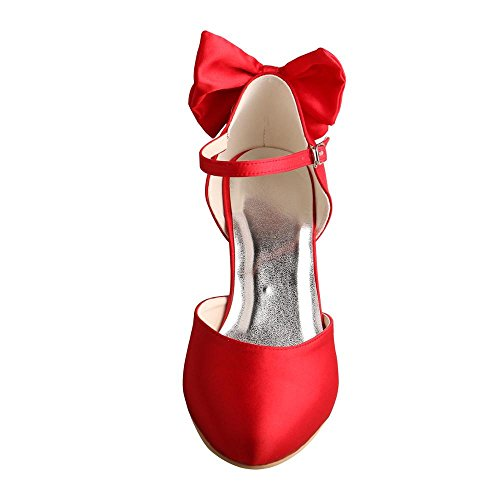 Wedopus MW745 Womens Mary Jane Almond Toe Mid Heel Bowtie Red Wedding Party Court Shoes QPJuDs