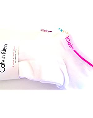 Calvin Klein Women's Athletic Low-Cut Ankle Socks 5 Pair (White/Multi-Striped Cuffs)