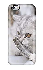 Iphone 6 Plus Case, Premium Protective Case With Awesome Look - Cat Smelling Feathers