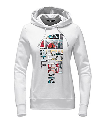 The Jersey Print Face North - The North Face Women's Trivert Logo Pullover Hoodie Sweatshirt, TNF White/TNF White Glamping Print, Small