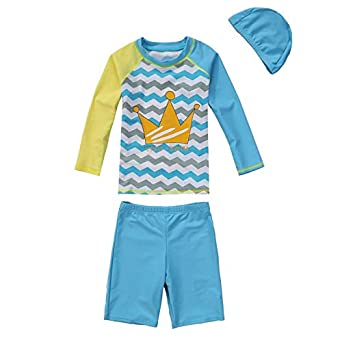 82aee3cc53c Image Unavailable. Image not available for. Color: Girls & Boys Swimsuit  UPF 50+ UV Rash Guard Set Long Sleeve Swimwear with Cap