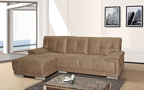 Container Direct Embossed Fabric Sectional Sofa with Left-Facing Chaise, Brown