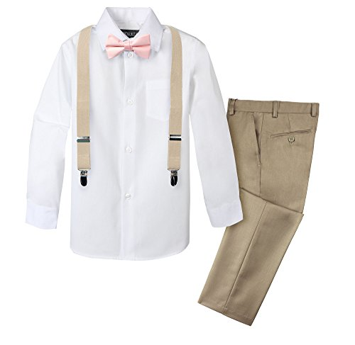 Spring Notion Boys' 4-Piece Suspender Outfit 06 Tan/Champagne/Blush Pink]()